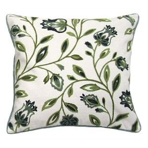 Accent Pillow - Green Embroidered Floral